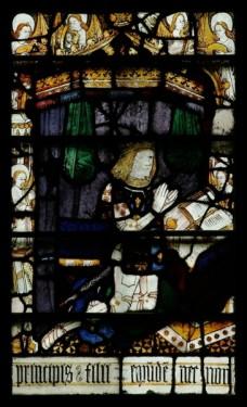 Prince Arthur Kneeling in Prayer: north transept (window nVI), Great Malvern Priory (Worcs.)