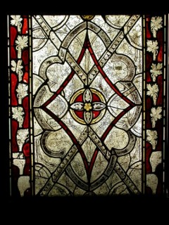 Panel of grisaille glass: chancel (window nII), Church of Sts Mary and Barlock, Norbury (Derbys.)