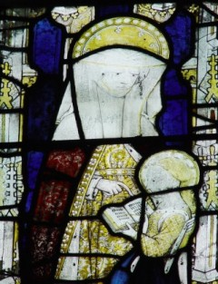 Oxford, All Souls College, Antechapel, north-east window of the north transept: St Anne teaching the Virgin Mary to read.