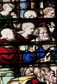 Fig. 22. King's College Chapel, Cambridge, detail from Window 19.2. The Incredulity of Thomas. The three heads on the right-hand side are by Hedgeland. Photo: A. Phippen, reproduced by the kind permission of the Provost and Scholars of King's College Cambridge.